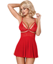 Obsessive red sheer babydoll with lace
