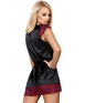 Obsessive black peignoir with burgundy lace and string