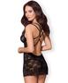 Obsessive black lace open back chemise