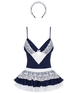 Obsessive French maid blue/white erotic set