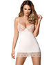 Obsessive white chemise with beige lace