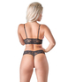Cottelli Collection black lace lingerie set with red satin inserts