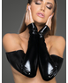 Noir Handmade black wet look fingerless gloves