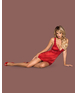 Obsessive red chemise with lace inserts