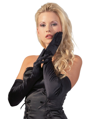 Cottelli Collection Black Satin Gloves