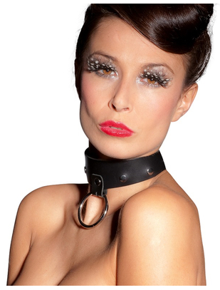 Zado leather collar with studs and ring
