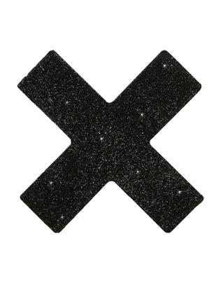 Melnas, mirdzošas krūšu uzlīmes x veidā (2 gab.)