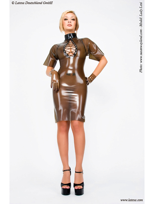 Latexa smoky grey latex mini dress with decorative lacing