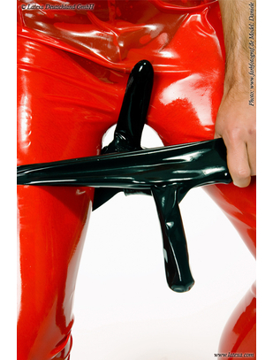 Latexa mens latex briefs with two sheaths