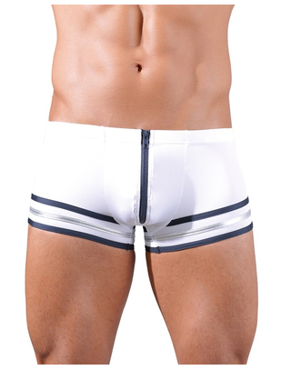 Svenjoyment white sailors-style trunks with zipper