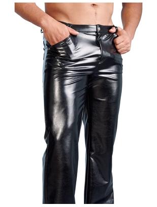 Svenjoyment melnas, metāliska spīduma bikses