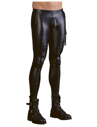 NEK black skinny matte look rock-'n'-roll pants