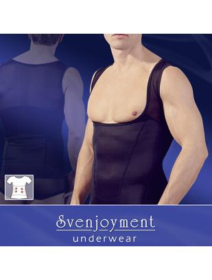 Svenjoyment melns bezpiedurkņu krekls ar izgriezumiem un slaidinošu efektu