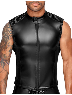 Noir Handmade black matte look muscle shirt with zipper