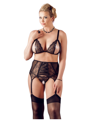 Cottelli Collection black lace 3-piece lingerie set