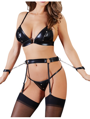 Cottelli Collection Bondage black wet look lingerie set with handcuffs