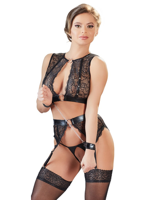 Cottelli Collection Bondage lace lingerie set with handcuffs