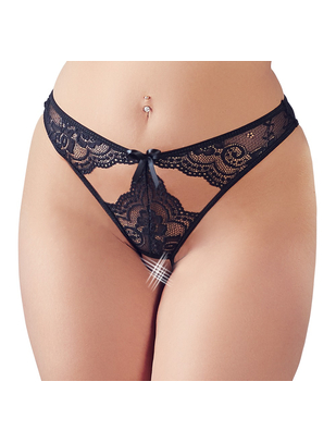 Mandy Mystery Line black lace crotchless thong