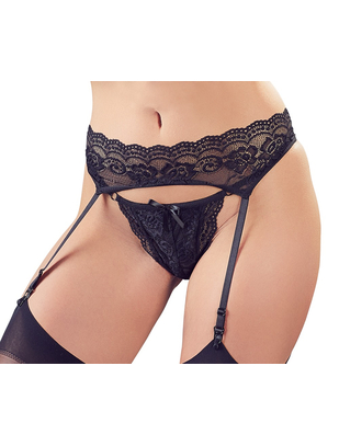 Cottelli Collection black lace garter belt with string