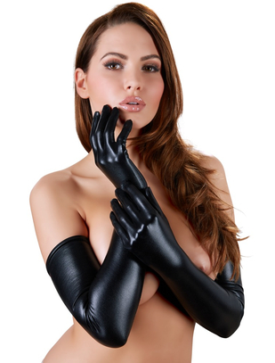 Cottelli Collection black wet look gloves
