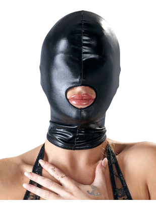 Bad Kitty black open mouth wet look hood mask