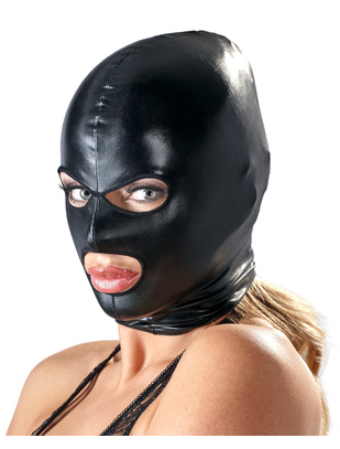 Bad Kitty black open mouth & eyes wet look hood mask