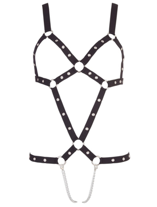 Bad Kitty black strap body with metal chains