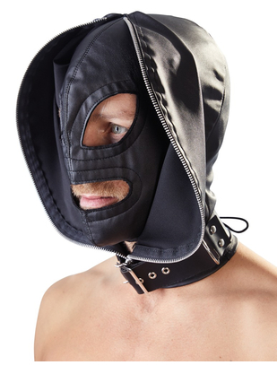 Fetish Collection black double hood mask with zipper