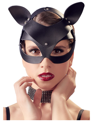 Bad Kitty black faux leather cat mask