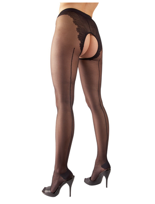 Cottelli Collection black crotchless tights with seam