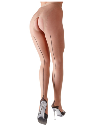 Cottelli Collection light skin tone crotchless tights with seam