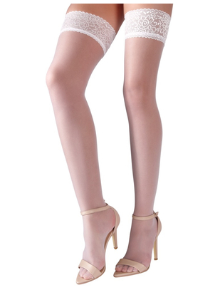 Cottelli Collection white hold-up stockings with lace