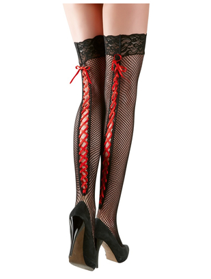Cottelli Collection black net hold-up stockings with red lacing