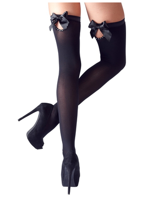 Cottelli Collection black hold-up stockings with bows & rhinestones
