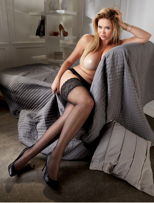 Cottelli Lingerie black hold-up stockings with wide lace