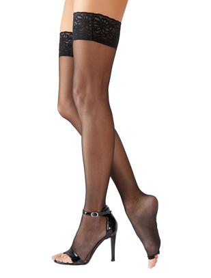 Cottelli Collection open toe black hold-up stockings