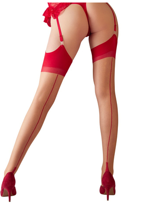 Cottelli Collection light skin tone suspender stockings with red top