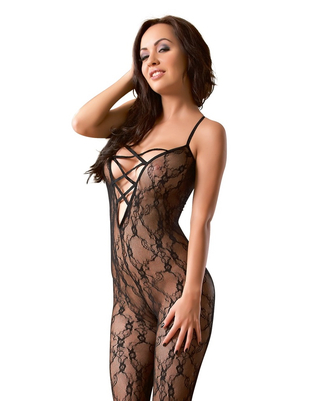 NO:XQSE black crotchless bodystocking with lacing