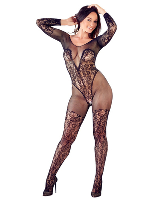 Mandy Mystery Line black net crotchless catsuit