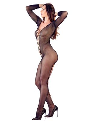 Mandy Mystery Lingerie black net crotchless catsuit