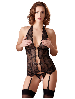 Abierta Fina black lace halterneck basque with string