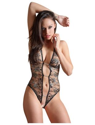 Abierta Fina black halterneck crotchless bodysuit