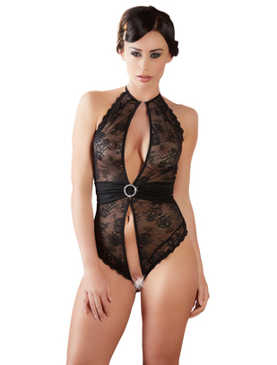Abierta Fina black lace body with decorative sash
