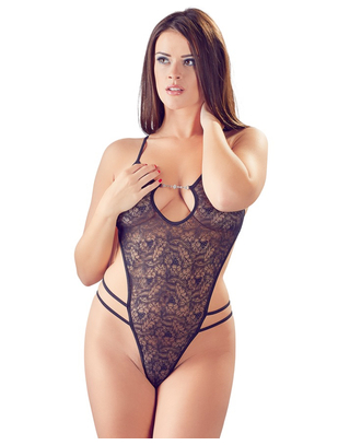 Cottelli Collection black G-string bodysuit with rhinestones
