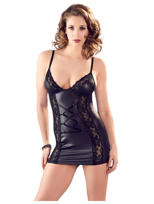 Cottelli Collection black matte look chemise with lacing