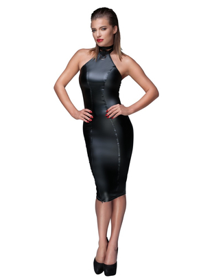Noir Handmade black matte look halterneck tube dress
