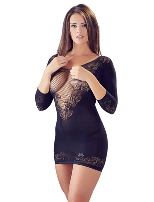 Mandy Mystery Lingerie black net mini dress with string