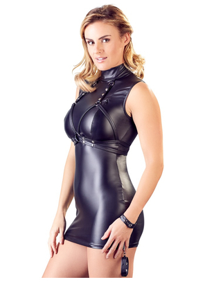 Cottelli Collection Bondage black matte look mini dress