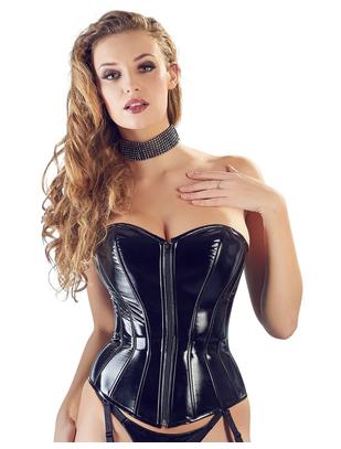 Black Level black vinyl corset with suspenders