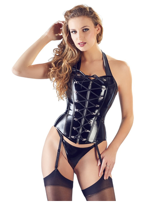 Black Level black vinyl basque with lacing